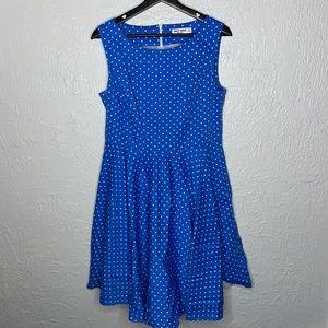 Grace Karin Blue Polka Dot Pleated Tank Dress